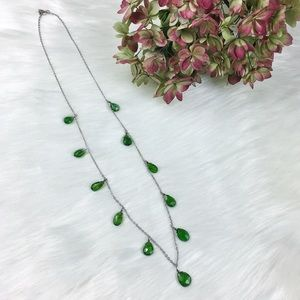 Sterling Silver & Green Gemstone Dangle Necklace